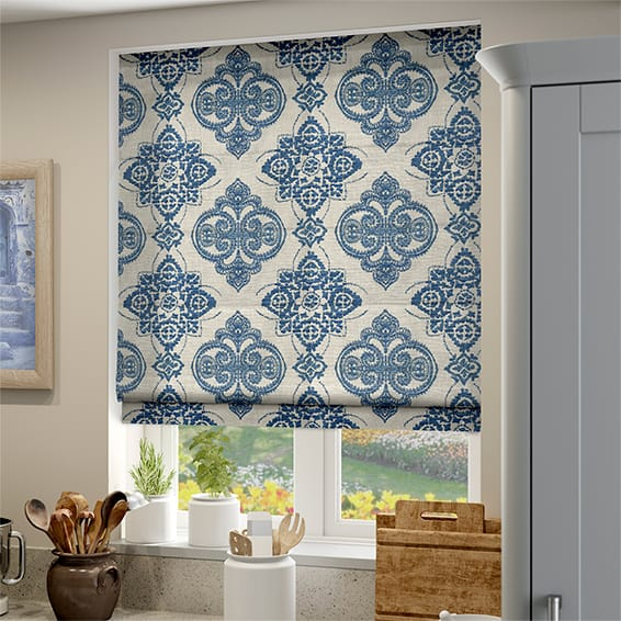 Roman Blinds Online Custom Made Blue Pattern Roman Blinds