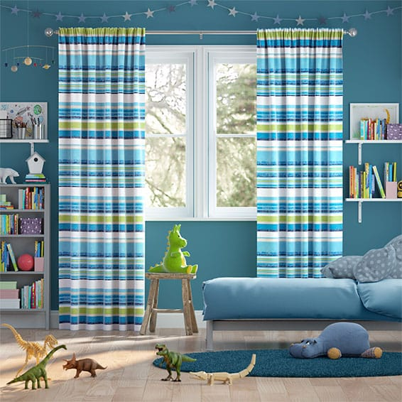 Calcutta Stripe Lake Blue Curtains