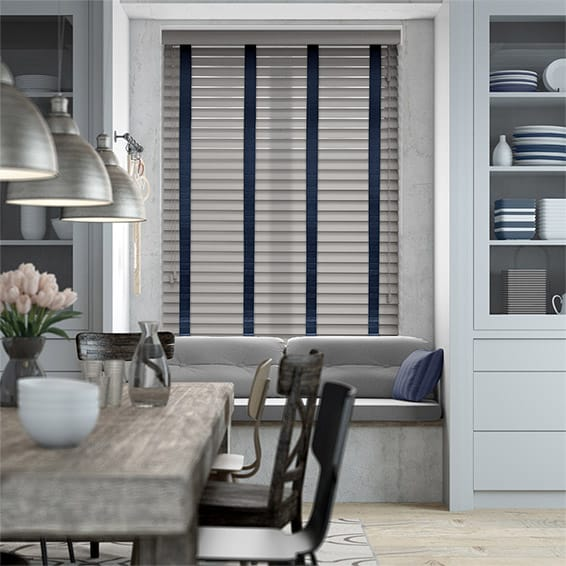 Cedar Grey & Navy Wooden Blind - 50mm Slat