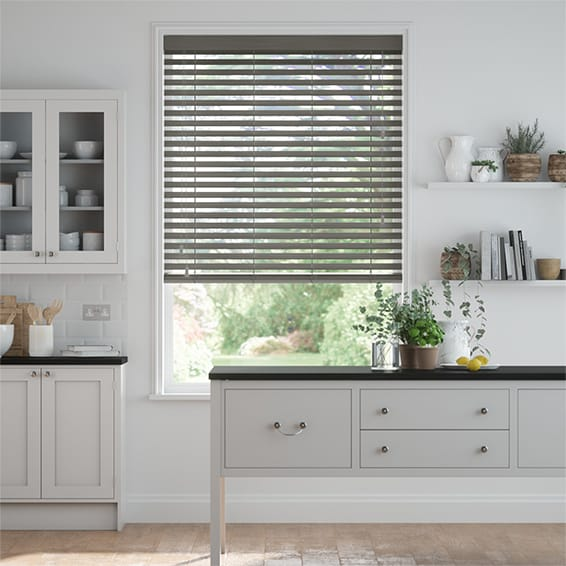City Grey Faux Wood Blind - 50mm Slat