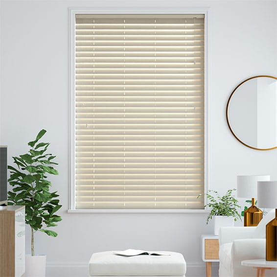 Classics Simply Cream Faux Wood Blind - 50mm Slat
