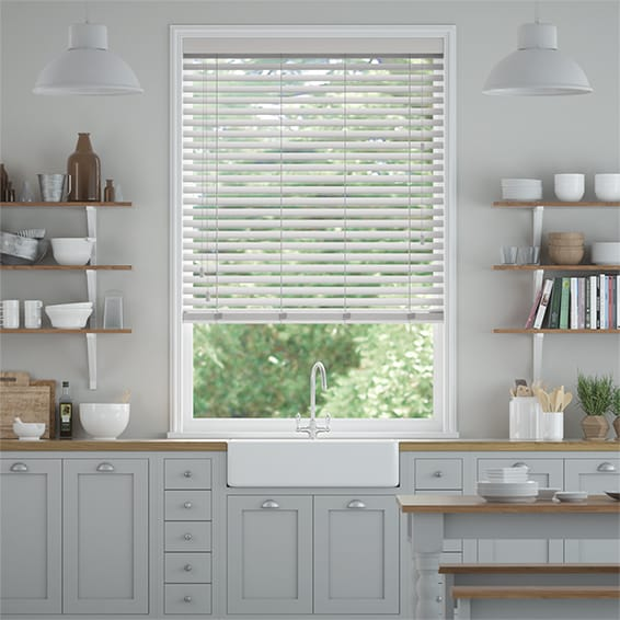Cool Grey Faux Wood Blind - 50mm Slat