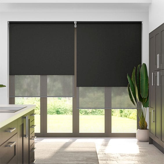 Double Roller Charcoal Roller Blind
