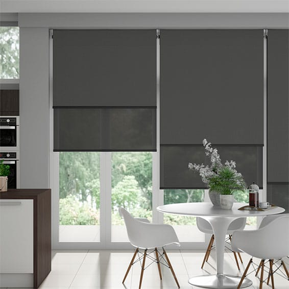 Eclipse Iron Grey & Slate Double Roller Blind