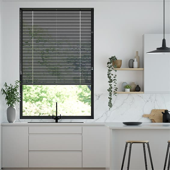 Elements Gloss Black Venetian Blind - 25mm Slat
