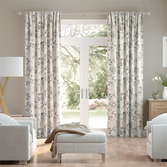 Floral Ink Linen Sepia Curtains