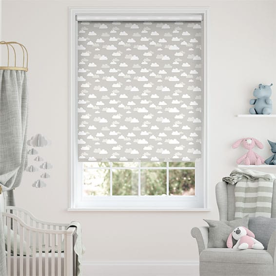 Fluffy Clouds Blackout Grey Roller Blind