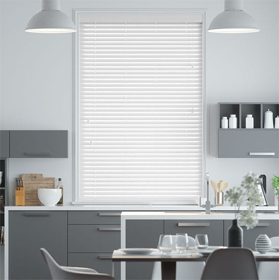 Glacier White Faux Wood Blind - 35mm Slat