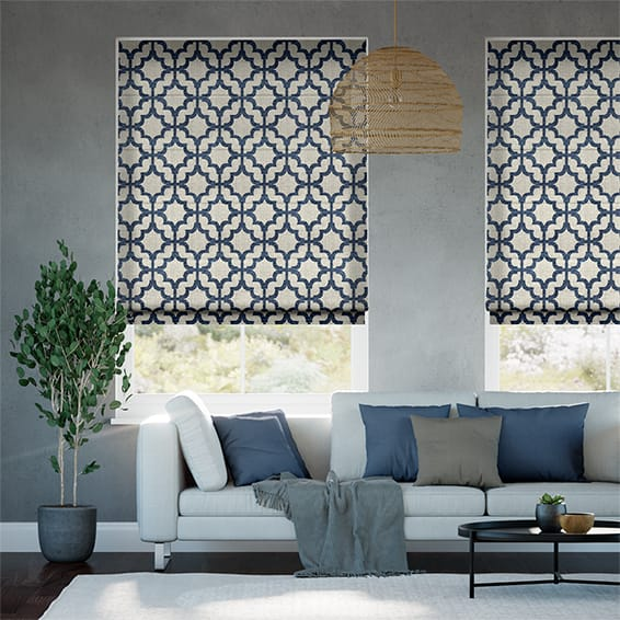 Lattice Navy Blue Roman Blind