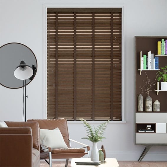 Metropolitan Burnished Walnut & Carob Wooden Blind - 50mm Slat