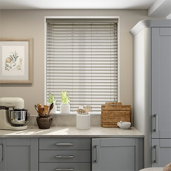 Pebble Grey Wooden Blind - 50mm Slat