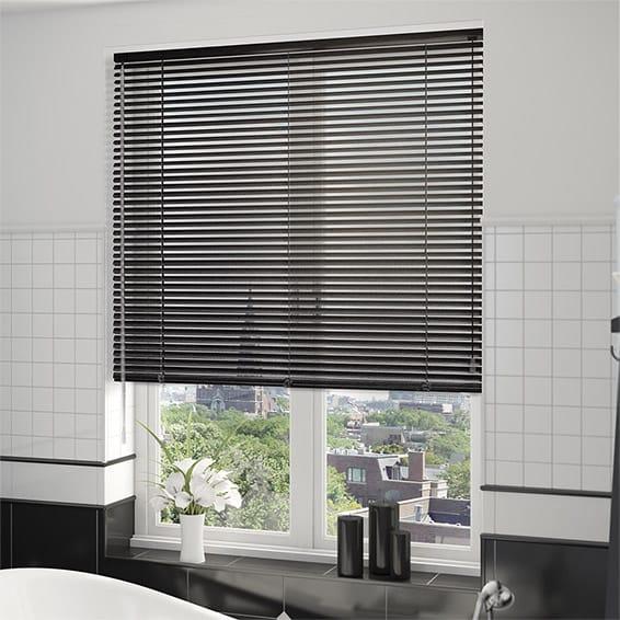 Premium Shimmer Black Venetian Blind 25mm Slat