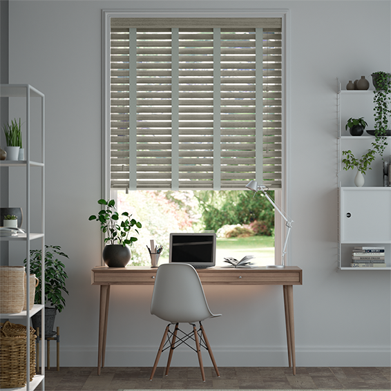 Smokey Ash & Smoke Faux Wood Blind - 50mm Slat