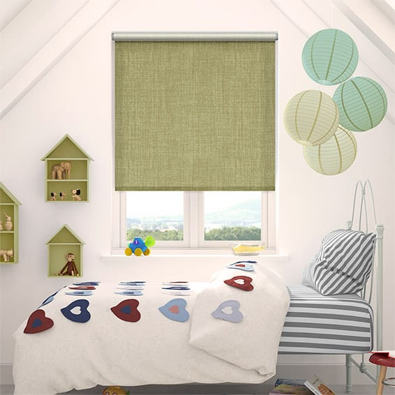 Thermal Luxe Dimout Green Ochre Roller Blind