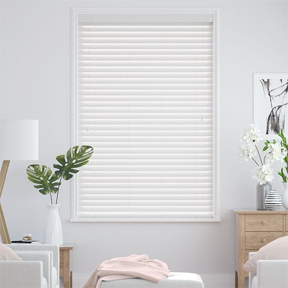 True White Faux Wood Blind - 50mm Slat