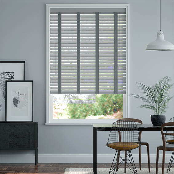 Urban Grey & Anthracite Faux Wood Blind - 50mm Slat