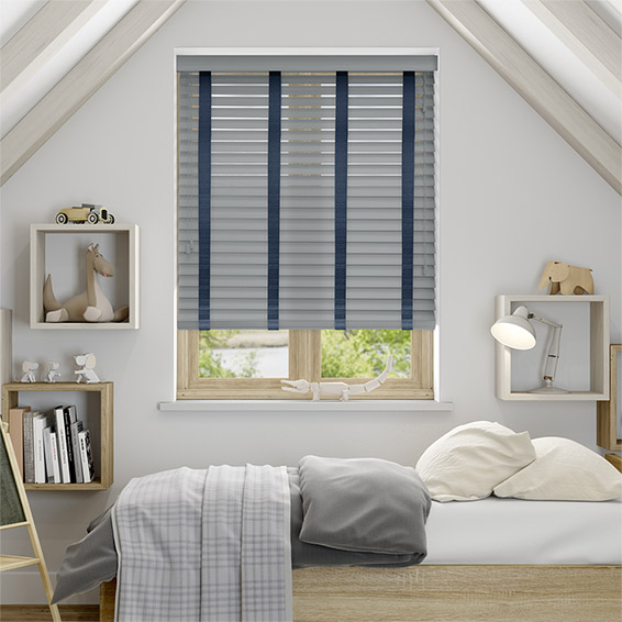 Urban Grey & Oxford Blue Faux Wood Blind - 50mm Slat
