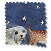 Winter Animals at Night Blue swatch image